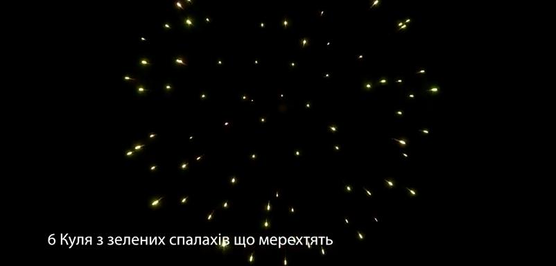 6″ Куля з зелених спалахів що мерехтять