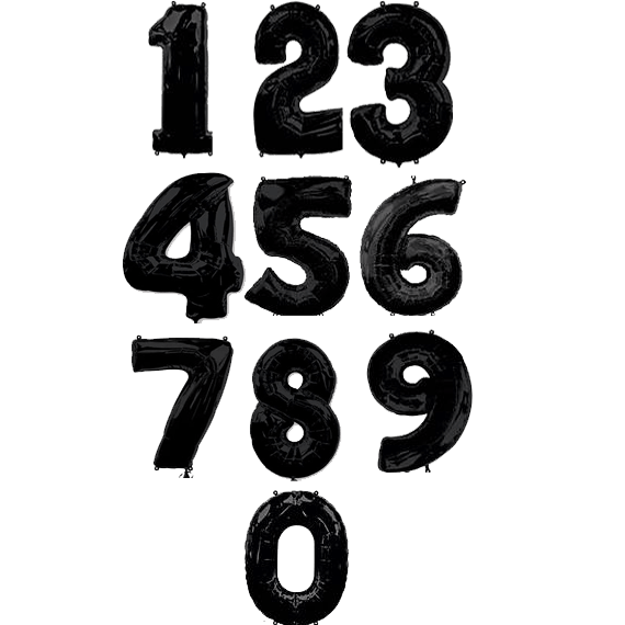 Фольговані цифри Чорні, 100 см
